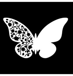 White butterfly wedding place card vector