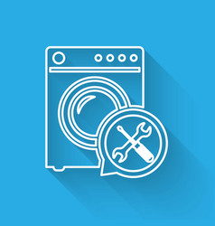 White line washer with screwdriver and wrench vector