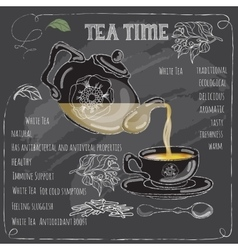 White Tea Time card with cup teapot and leaves vector image