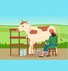 woman farmer near cow on nature landscape vector image
