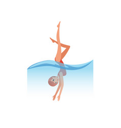 woman in red swimsuit diving into the water water vector image