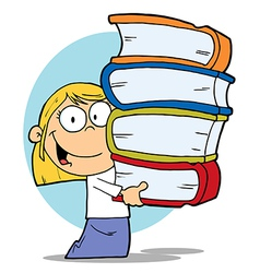 Blond School Girl Carrying A Stack Of Books vector image
