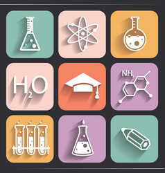 Colored chemistry icons for learning and web appl vector image vector image