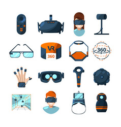 different symbols of virtual reality electronic vector image vector image