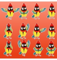 Flat titmouse with scarfs and hats set vector image