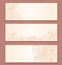 Floral Red Banner Set with Leaf Silhouettes vector image vector image