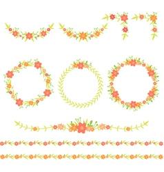 Flower Wreath Frame Corner Border vector image vector image