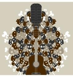 guitar with skulls and bones vector image