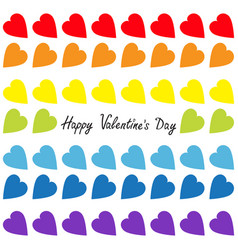 happy valentines day rainbow heart set seamless vector image vector image