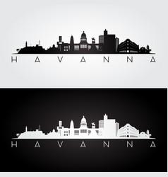 Havana skyline and landmarks silhouette vector