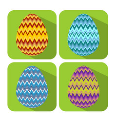 set if icons with chevron decorated egg flat vector image vector image