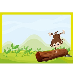 A monkey dancing on a dry trunk vector image vector image