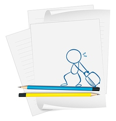 A paper with a sketch of a boy pulling a bag vector image vector image