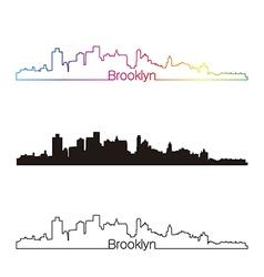 Brooklyn skyline linear style with rainbow vector image vector image