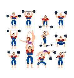 circus athletes with girl gymnast in arms vector image