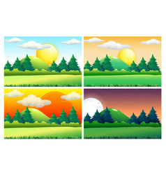 four scenes of green fields at different times of vector image vector image