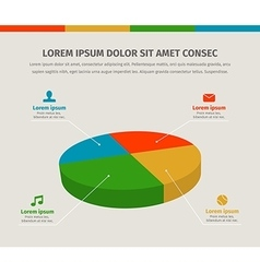Modern 3d pie graph for web or brochures design vector image vector image