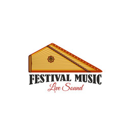 Music festival icon with folk musical instrument vector