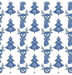 Seamless christmas pattern with deers and trees vector