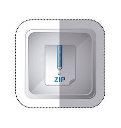 sticker silver square button with sheet with zip vector image vector image