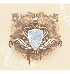vintage shield crown vector image vector image