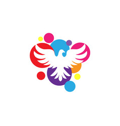 white dove with circle color background logo vector image vector image