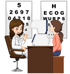 Woman having eyes checked by doctor vector