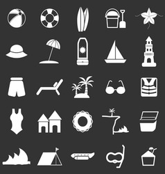 Beach icons on black background vector image