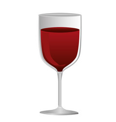 colorful silhouette of glass of wine with red wine vector image