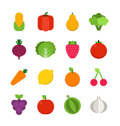 flat of vegetables and fruits vector image