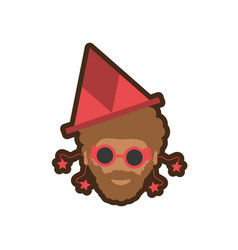 head man with hat party vector image