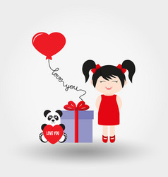 lovely girl valentine s day icon flat vector image vector image