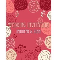 Wedding invitation card with floral elements vector image vector image