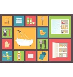Bath supplies hygiene accessories cosmetics hair vector image