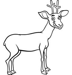 deer cartoon for coloring vector image