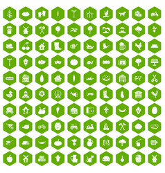 100 farm icons hexagon green vector