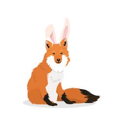 a fox with bunny ears vector image