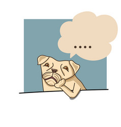 a pug dog rest its chin on his feet was thinking vector image
