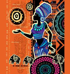 African woman in ethnic dress on ethnic geometric vector