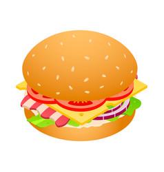 american hamburger unhealthy food icon isometric vector image
