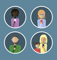 avatars of people calling on the phone in a flat vector image