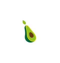 avocado face half of a piece and seed logo vector image