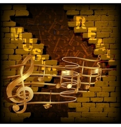 background music break in the wall vector image