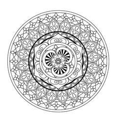 beautiful deco black mandala patterned design vector image