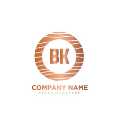 Bk initial letter circle wood logo template vector