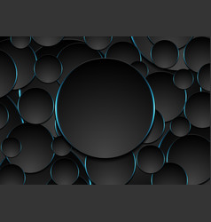 black and blue circles abstract tech background vector image