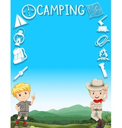 Border design with boys in camping outfit vector