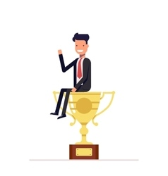 Businessman or manager is sitting on a big cup vector