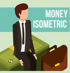 businessman sitting on stack banknote money vector image
