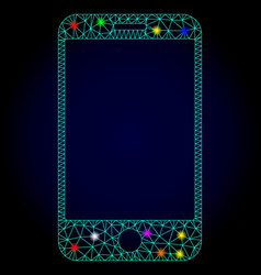 Carcass mesh smartphone with light spots vector